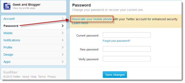 Twitter Security - Associate Password with Mobile Phone