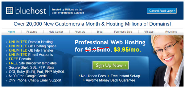 Bluehost hosting for $3.95/month ($47/year)