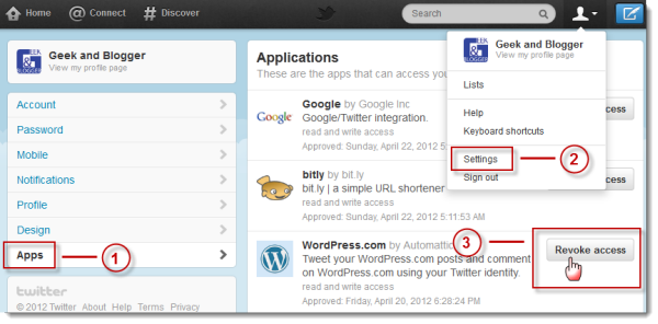 Twitter Security - Revoke Access for apps